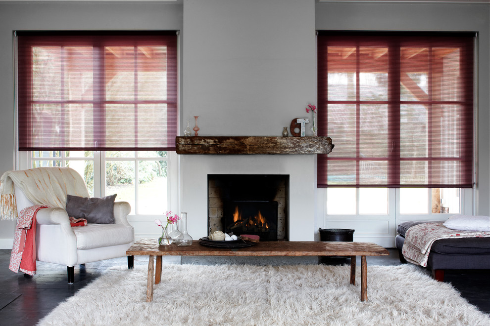 White Shag Rug Living Room Contemporary with Curtains Drapery Drapes Light Filtering Shades Neutral Roman