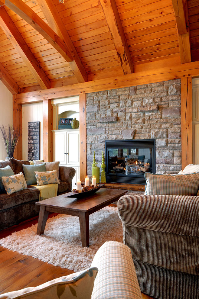 White Shag Rug Living Room Rustic with Blue Pillows Brown Sofa Built in Cabinets Candles