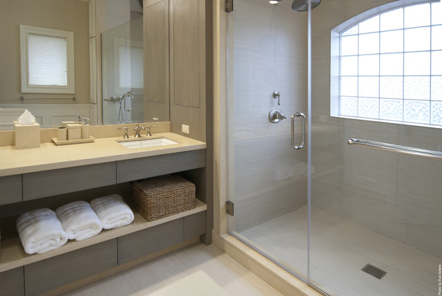 Wicker Basket with Lid Bathroom Contemporary with Bath Accessories Glass Block Windows Glass Shower Neutral Colors