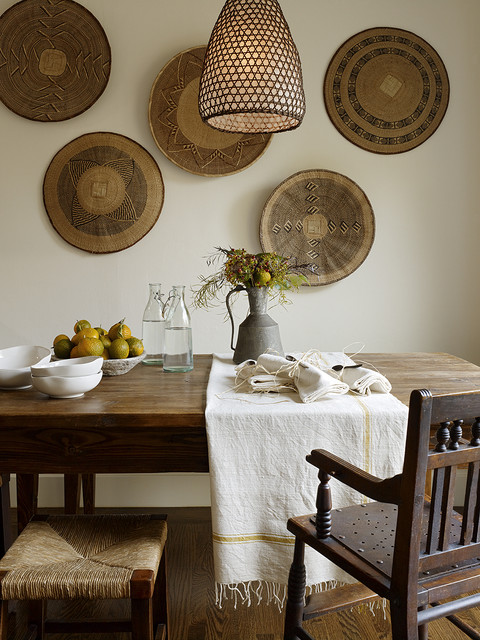 Wicker Basket with Lid Dining Room Rustic with Antiques Galvanized Pitcher Linens Pendant Lamp Rush Seat Rustic