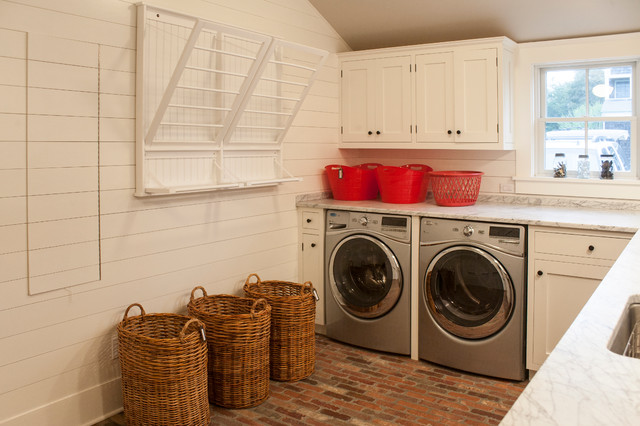 Wicker Basket with Lid Laundry Room Beach with Barn Beams Drying Rack Farm Kitchen Open Traditional Wicker
