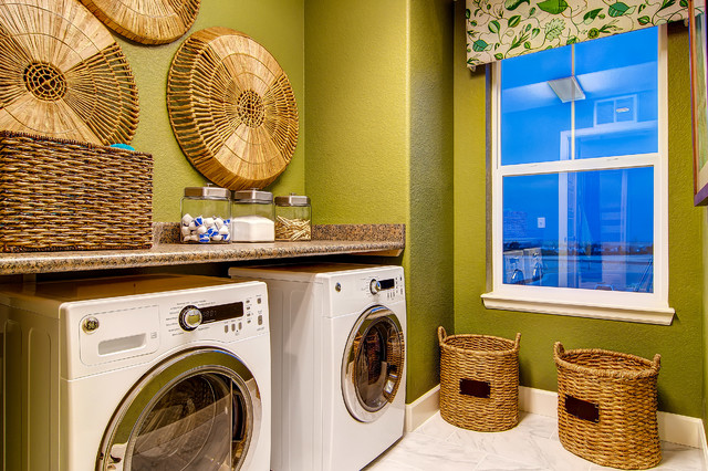 Wicker Basket with Lid Laundry Room Traditional with Colorado Homes Cornice Board Green Walls Laundry Room Mudroom