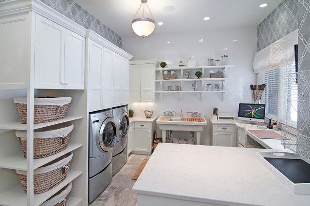 Wicker Basket with Lid Laundry Room Traditional with Built in Desk Ceiling Light Dryer Gray Patterned Wall Gray
