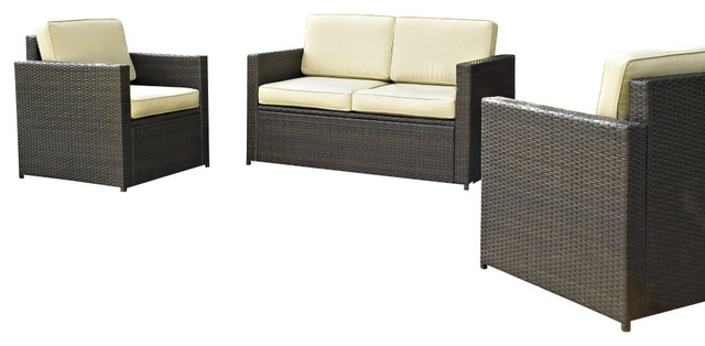 Wicker Loveseat with Outdoor Seating Set 2