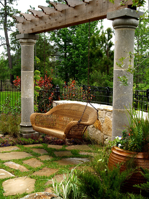 Wicker Porch Swing Landscape Traditional with Arbor Cantera Columns Capitals Cast Stone Columns Chains Copper