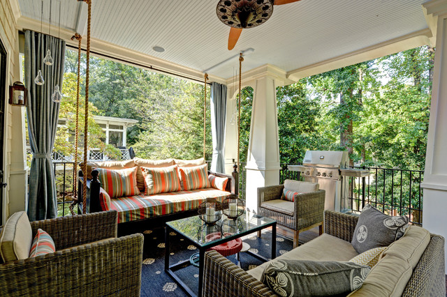 wicker porch swing Porch Traditional with beadboard beadboard ceiling candles ceiling fan curtain panels daybed