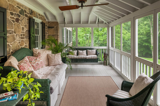 Wicker Porch Swing Porch Traditional with Ceiling Fan Charming Cozy Porch Swing Rug Shutters Stone