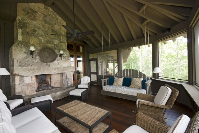 Wicker Porch Swing Sunroom Traditional with Ceiling Fan Decorative Pillow Eaves Enclosed Porch Exposed Beams