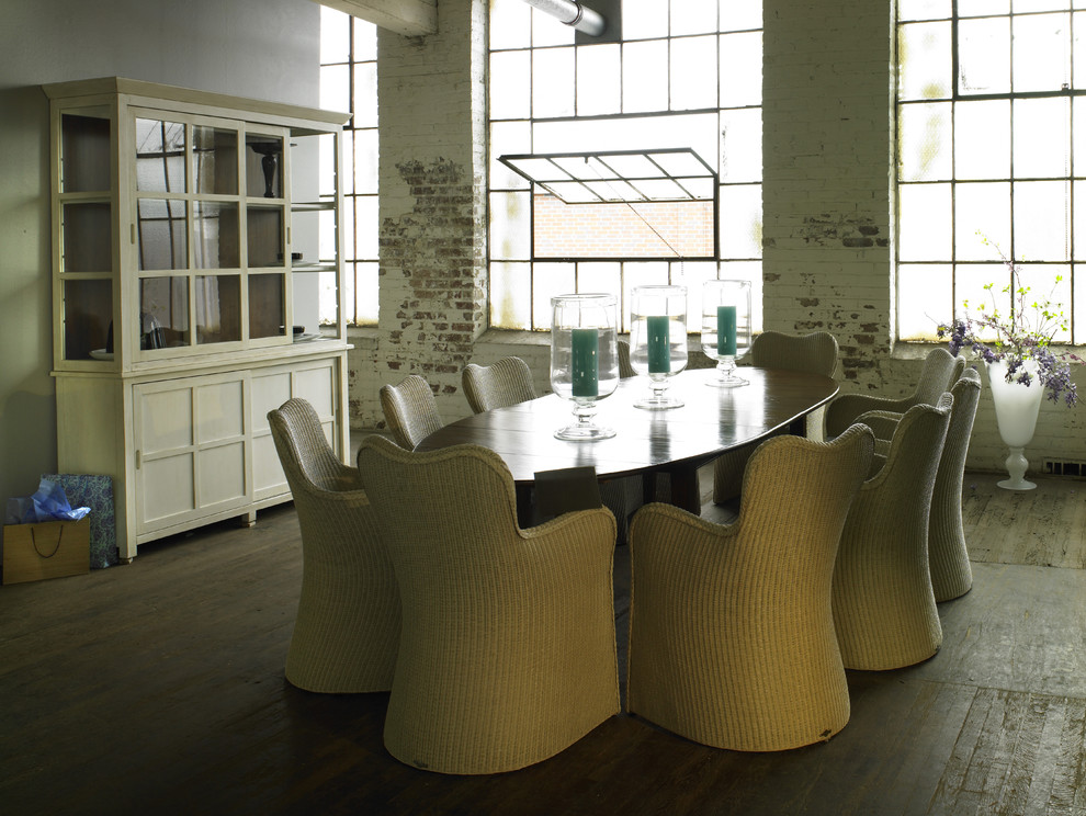 Wicker Warehouse Dining Room Industrial with Brick Wall Candles Casement Windows Dining Buffet