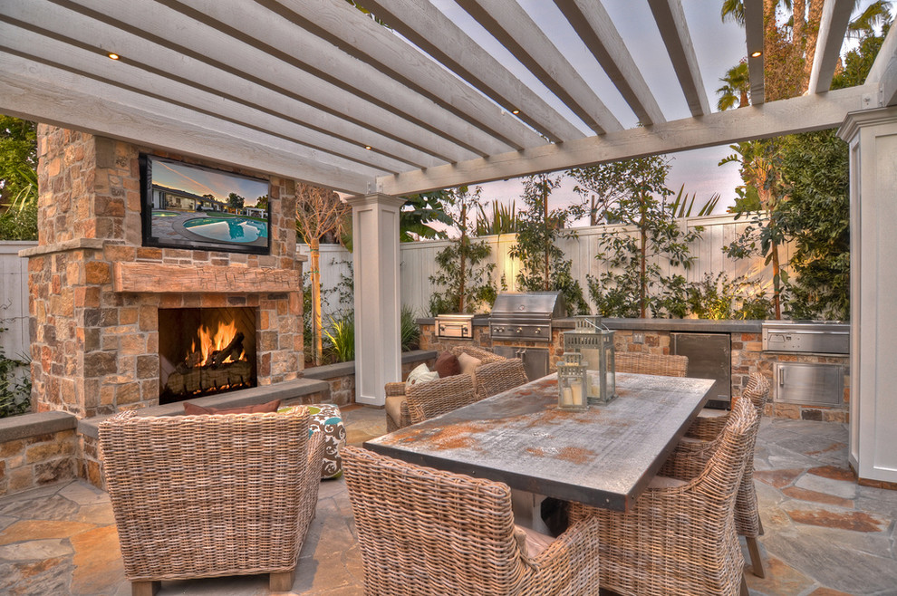 Wicker Warehouse Patio Transitional With Barbecue  Flagstone Grill Outdoor Dining Outdoor Fireplace