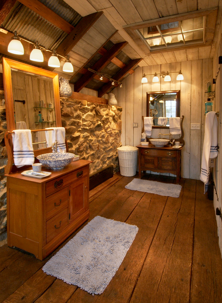 Wide Plank Flooring Bathroom Rustic with Bath Mat Handcrafted Mortise and Tenon Paneled1