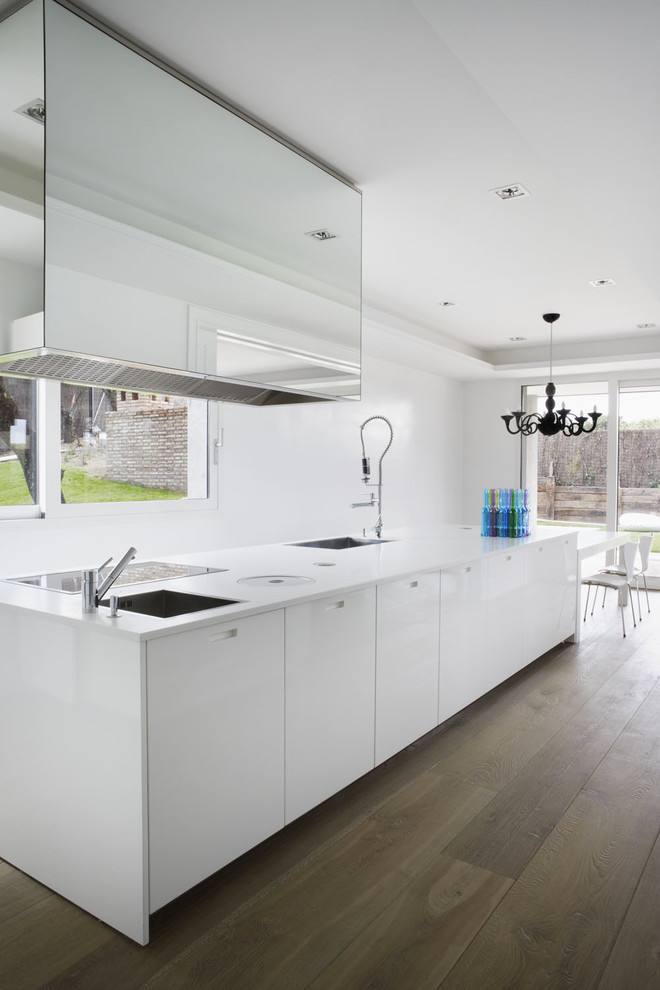 Wide Plank Flooring Kitchen Modern with Black and White Black Chandelier Casual Elegance1
