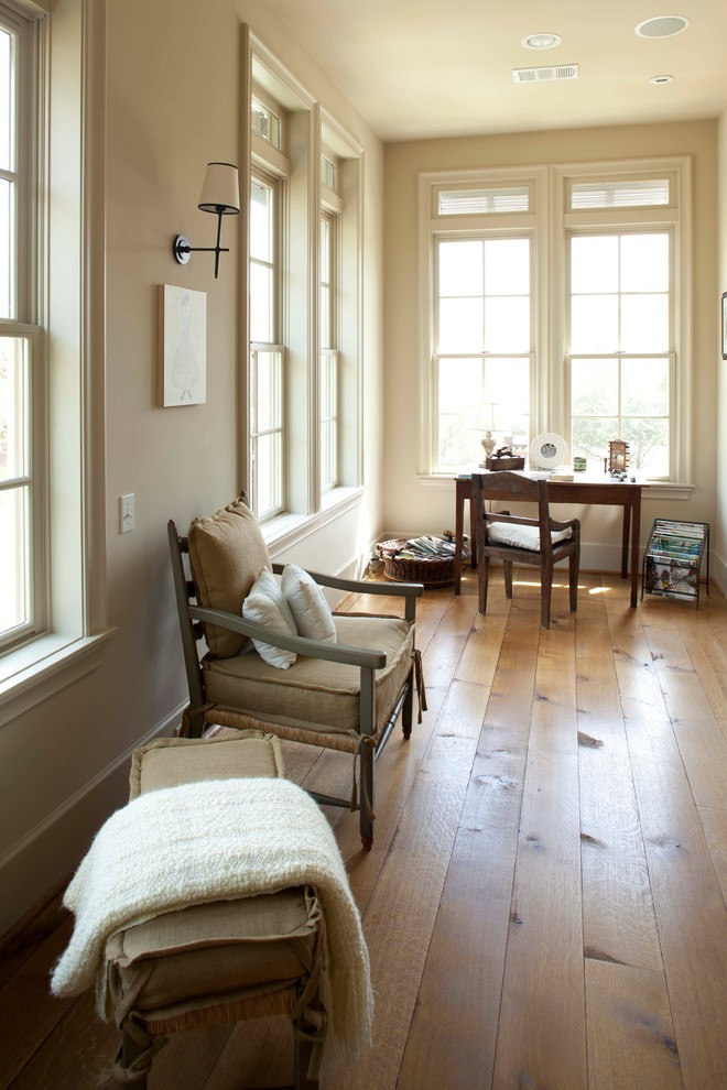 Wide Plank Hardwood Flooring Home Office Rustic with Baseboards Beams Beige Walls Brick Classic Contemporary1