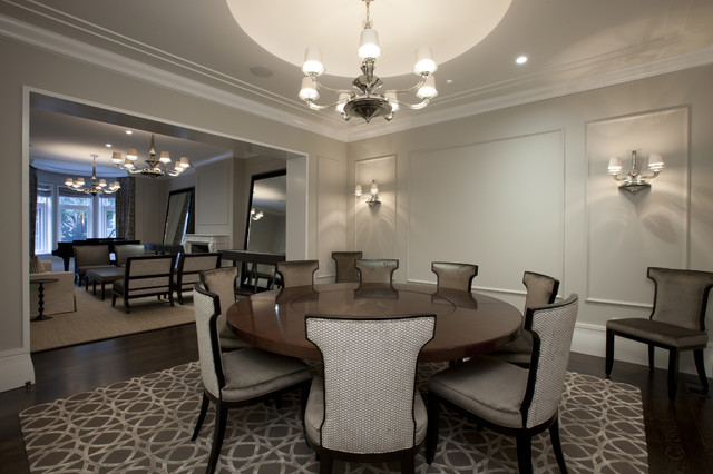 Wildon Home Furniture Dining Room Contemporary with Area Rug Chandelier Chandelier Shades Crown Molding Dark Floor