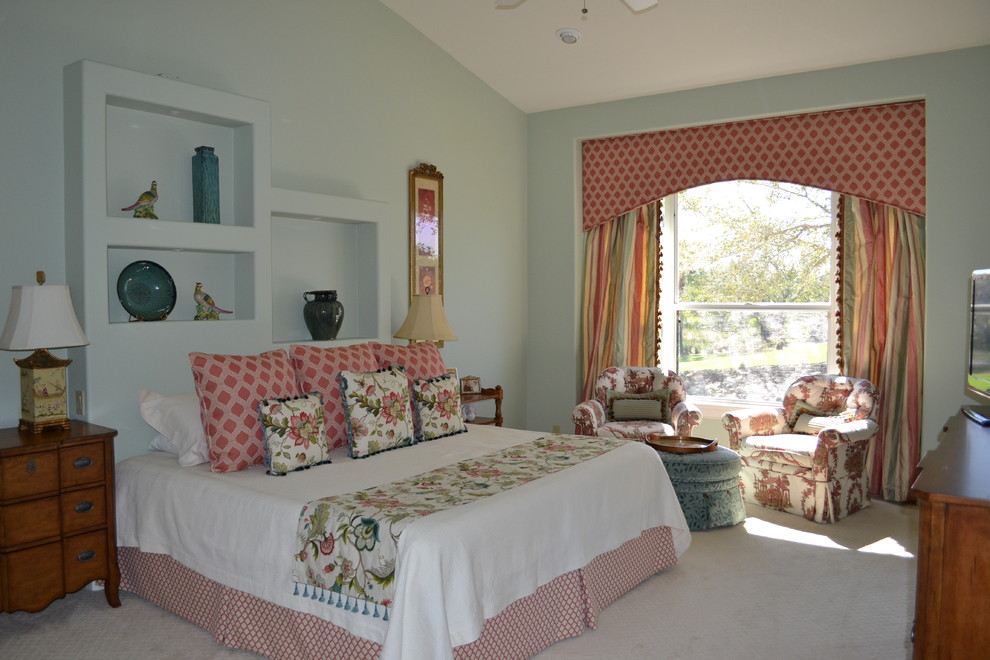 Window Cornice Bedroom Eclectic with Armchair Bed Blue Blue Ottoman Built in Shelves