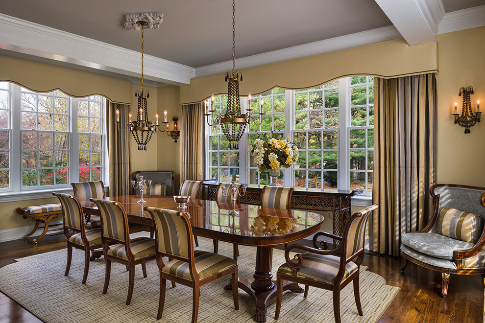 Window Cornice Dining Room Traditional with Beige Window Treatment Chandelier Crown Molding Glossy1