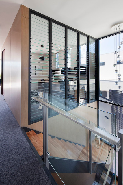 Window Louvers Staircase Modern with Carpeting Glass Louvers Glass Panel Railing Gray Home Office