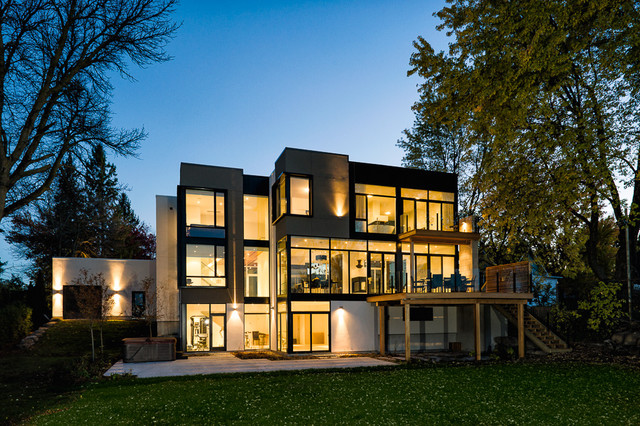 Window Muntins Exterior Contemporary with Back Yard Balcony Deck Flat Roof Glass Panel Railing
