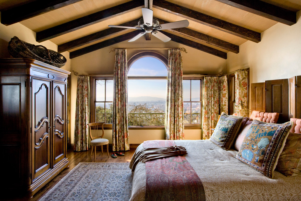 Window Treatments for Arched Windows Bedroom Rustic with Beams Ceiling Fan Closet Oriental Carpet Rustic