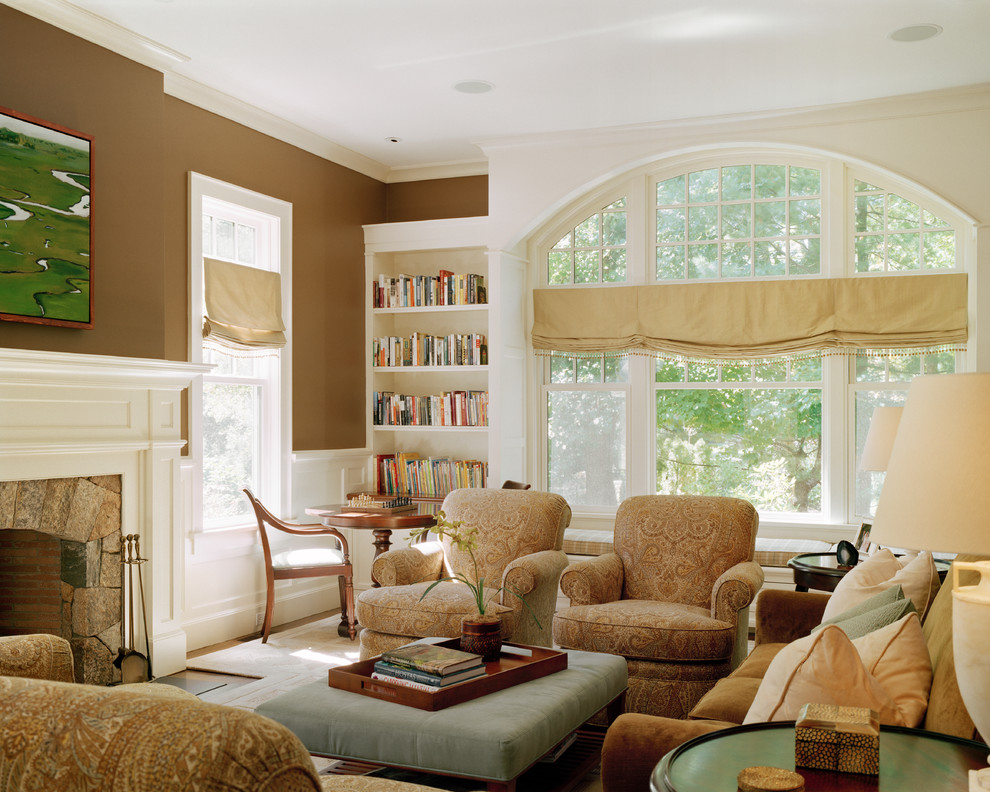Window Treatments for Arched Windows Family Room Traditional with Arched Window Book Case Bookcase Brown Brown
