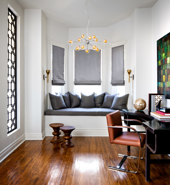 Window Well Grates Home Office Contemporary with Chandelier Glossy Floor Orange Chair Refurbished Desk Roman Shades