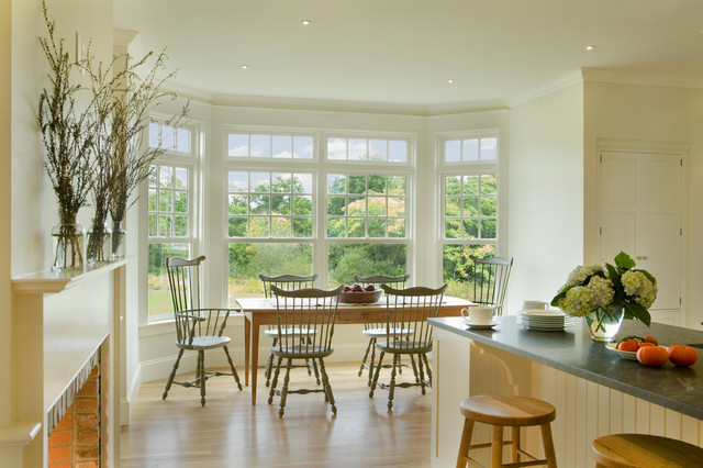 Window Well Grates Kitchen Traditional with Bay Window Brick Counter Stools Farm Table Farmhouse Table
