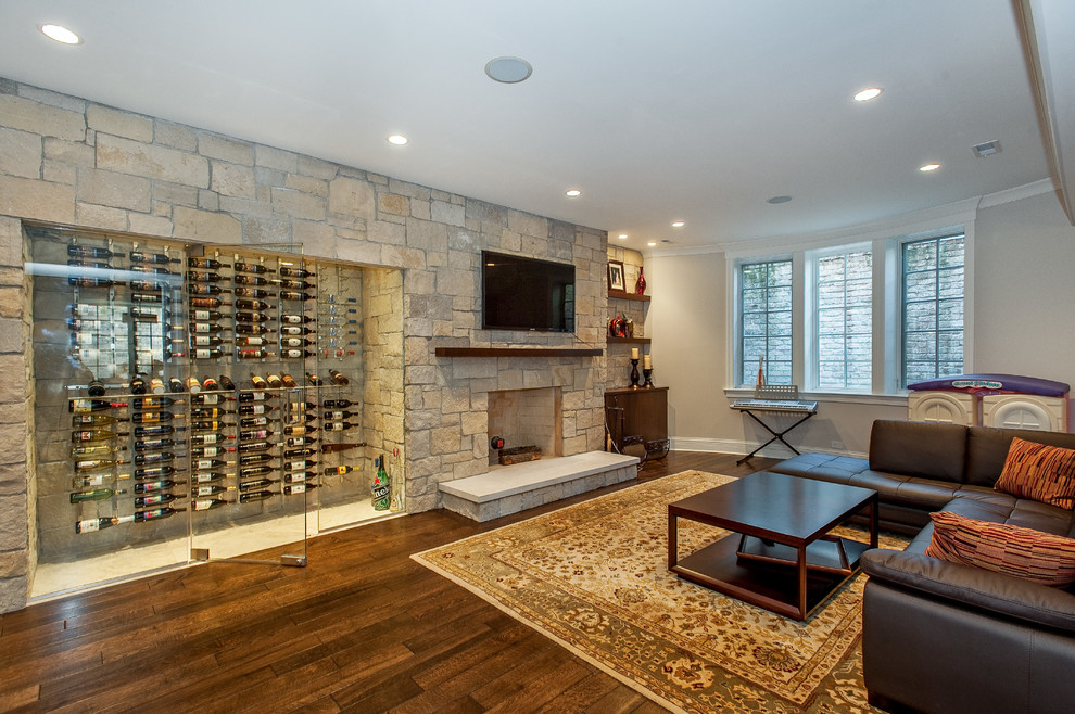 Wine Cellar Innovations Basement Transitional with Accent Wall Basement Entertainment Area Brown Sectional