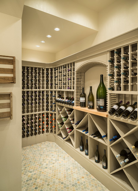 Wine Cellar Racks Wine Cellar Transitional with Arch Beige Built in Cabinetry Corner Curved Mosaic Tile