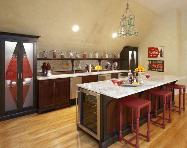 Wine Chillers Home Bar Eclectic with Angled Ceiling Asid Showhouse Bar Counter Beadboard Black Cararra