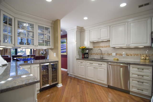 Wine Chillers Kitchen Contemporary with Baseboards Ceiling Lighting Crown Molding Glass Front Cabinets Kitchen