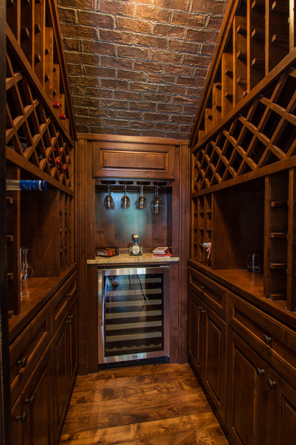 wine chillers Wine Cellar Traditional with brick ceiling sloped ceilings vaulted ceilings walk-in wine cellar