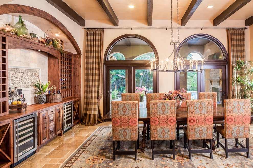 Wine Credenza Dining Room Mediterranean with Arched Windows Beamed Ceiling Brown Floor Tile