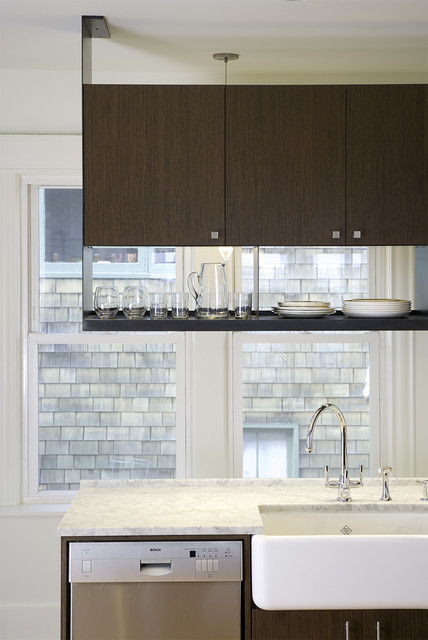 Wine Goblets Kitchen Contemporary with Barware Carerra Marble Dark Wood Cabinets Farm Sink Farmhouse