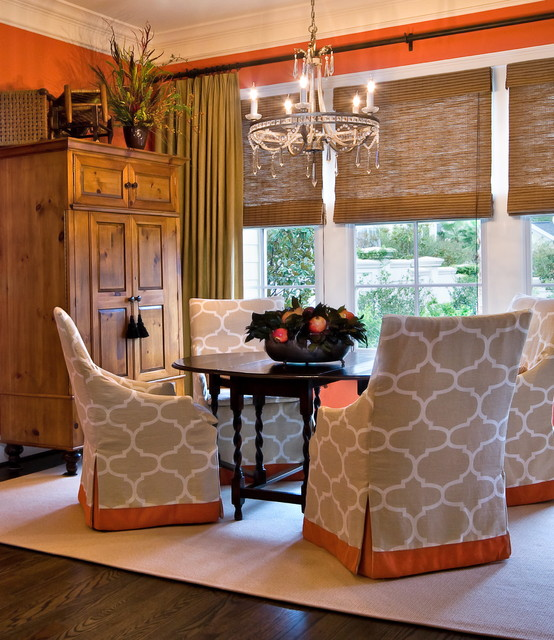 Wing Chair Slipcover Dining Room Traditional with Accent Colors Antique Table Area Rug Barley Twist Table