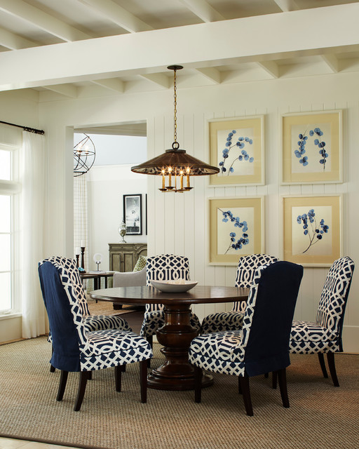 wing chair slipcover Dining Room Traditional with blue and white blue and white dining chairs exposed