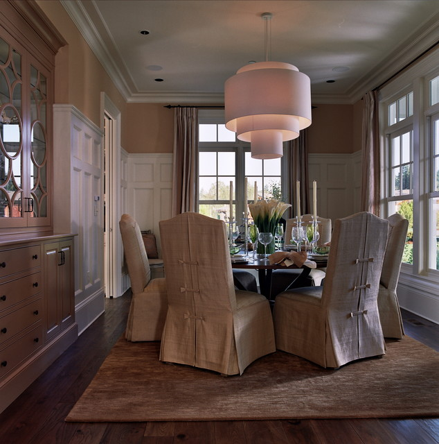 Wing Chair Slipcover Dining Room Traditional with Built in China Cabinet Crown Molding Dining Area Frame