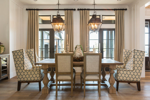 Wingback Chair Covers Dining Room Transitional With Beige Curtains Molding Wall