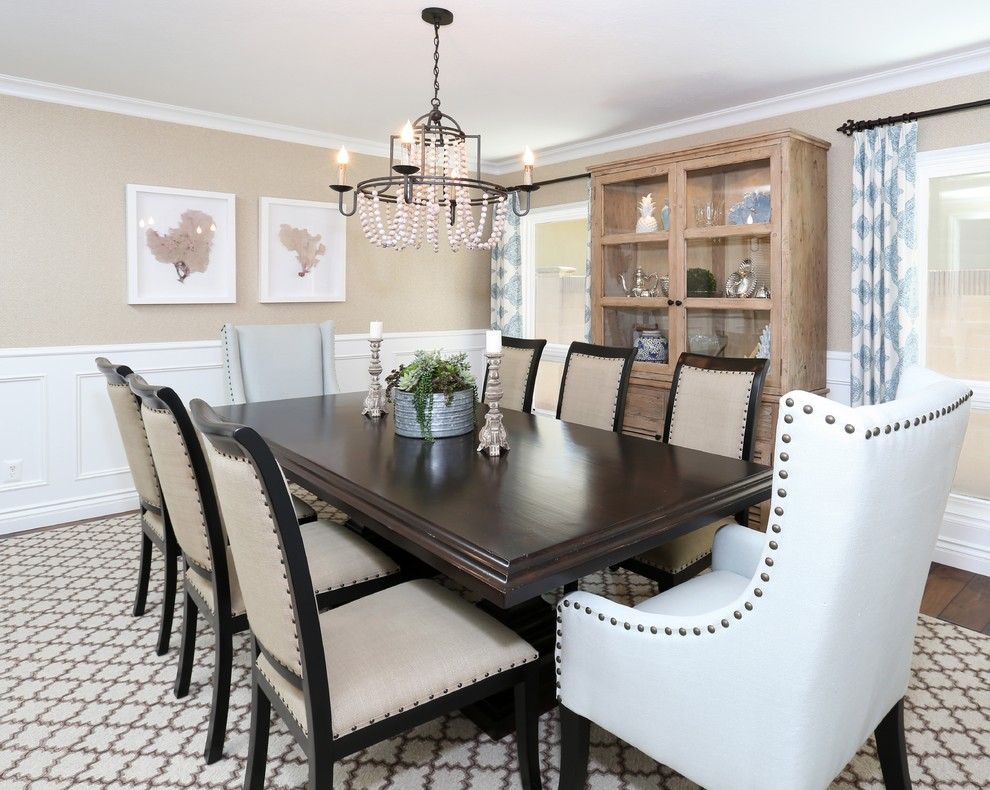 Wingback Dining Chair Dining Room Beach with Beige Dining Chair Beige Patterned Rug Chandelier