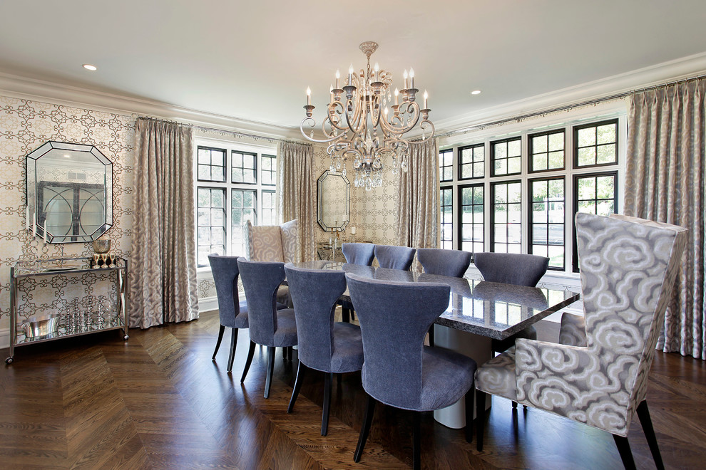 Wingback Dining Chair Dining Room Contemporary with Bar Cart Beveled Mirror Chandelier Chevron Crown