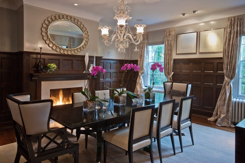 Wingback Dining Chair Dining Room Transitional with Area Rug Chandelier Classical Dining Room Fireplace