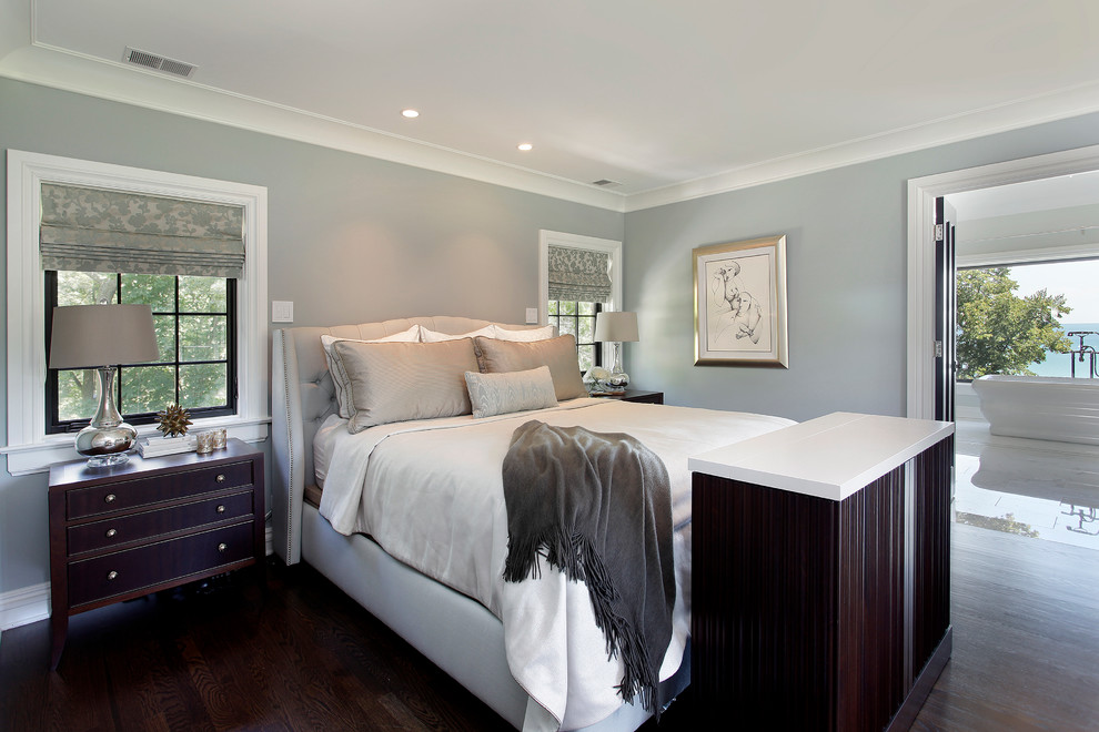 Wingback Headboard Bedroom Contemporary with Bedside Table en Suite Foot of The