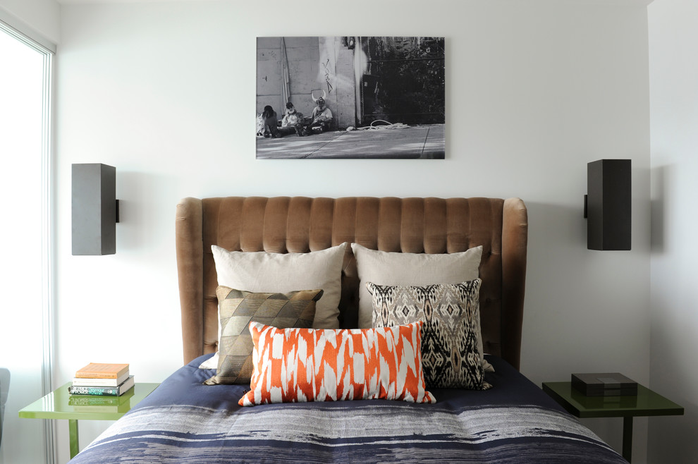 Wingback Headboard Bedroom Eclectic with Bedscape Brown Green Side Table Indigo Neutral