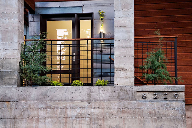 wire mesh fence Entry Contemporary with concrete column concrete wall front door geometric geometry glass