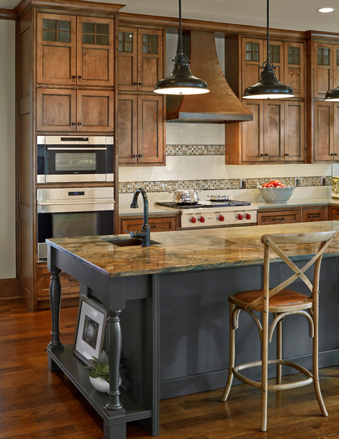 Wolf Appliance Kitchen Traditional with Brown Countertop Built in Sub Zero Refrigerator Clear Alder