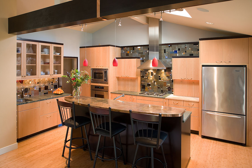 wolf cooktop Kitchen Contemporary with bamboo flooring breakfast bar ceiling lighting eat