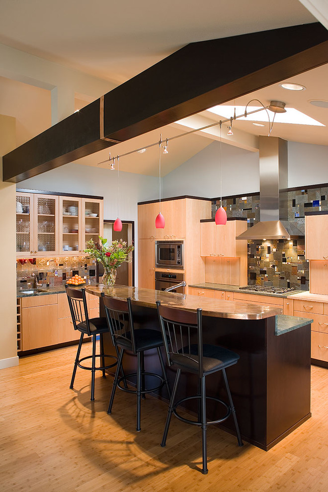 Wolf Cooktop Kitchen Contemporary with Bamboo Flooring Breakfast Bar Ceiling Lighting Eat1