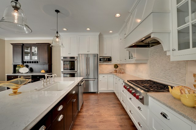 Wolf Cooktops Kitchen Traditional with Bell Pendants Buffet Crown Molding Cup Pulls Dark Wood