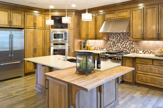 Wolf Double Oven Kitchen Traditional with Butcher Block Countertops Ceiling Lighting Drum Pendant Kitchen Island