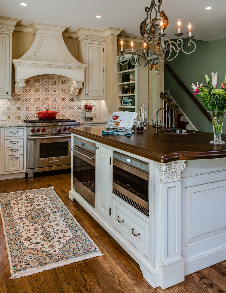 wolf microwave drawer Kitchen Traditional with arched opening bar sink beige cabinets beige