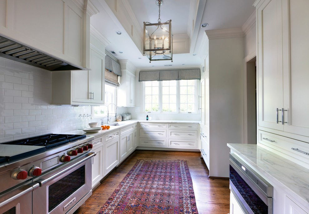 Wolf Microwave Drawer Kitchen Transitional with Appliances Backsplash Ceiling Ceiling Lighting Custom Cabinetry